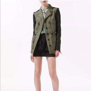 ZARA Safari Military Jacket w/ 100% Leather Sleeve